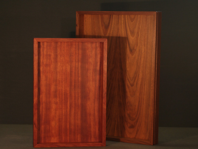 trays in walnut and bubinga